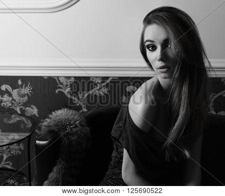 Black And White Sensual Elegant Girl Indoor