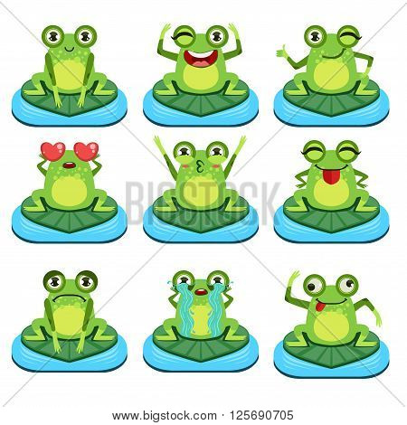 Frogs Sitting On Leaf  Flat Vector Icons Collection In Cute Girly Style Isolated On White Background