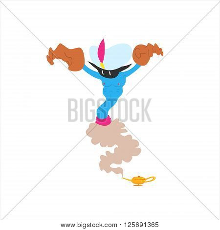Evil Alien Genie Isolated Flat Vector Illustration In Childish Cartoon Manner On White Background