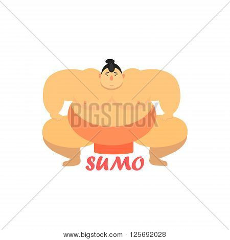Sumo Fighter Cartoon Style Flat Vector Illustration On White Background With Text