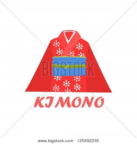 Traditional Kimono Cartoon Style Flat Vector Illustration On White Background With Text