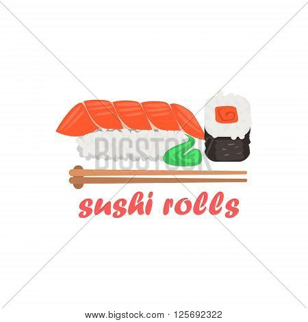 Sushi Rolls Cartoon Style Flat Vector Illustration On White Background With Text