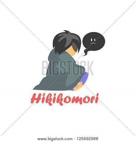 Hikimori Cartoon Style Flat Vector Illustration On White Background With Text