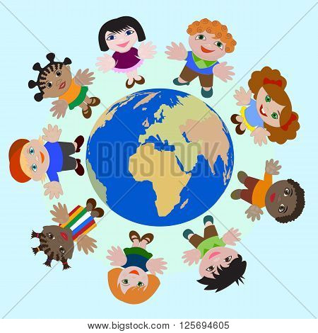 Concept Children of different nations Dream of Peace on Earth