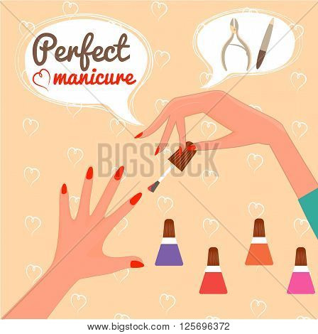 Perfect manicure. Beauty concept. Gift certificate. Glamur Disign.