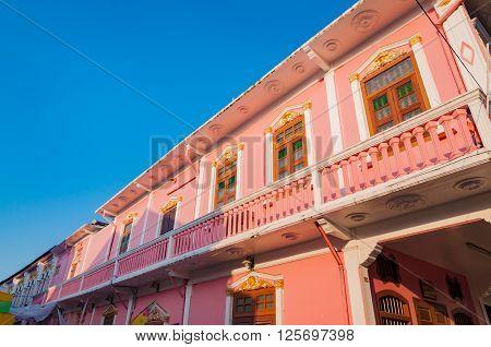 Phuket Old Town Sino-Portuguese Houses at Thalang road Phuket Thailand