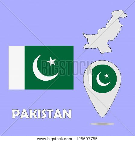 A pointer map and flag of Pakistan