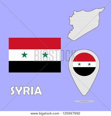A pointer map and flag of Syria