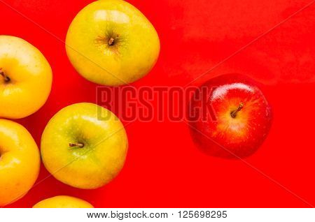 One red apple standing out from a group of other apples on a red background from the crowd leadership difference concept Selective focus