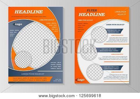 Vector flyer template design. For business brochure leaflet or magazine cover. Grey orange color