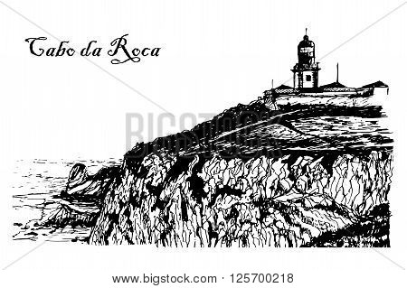 Drawing background landscape view of the Lighthouse at Cabo da Roca in Sintra, Portugal, sketch, ink, graphic vector illustration