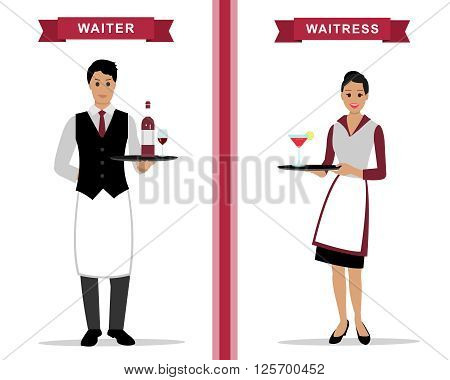 Waiter and waitress with trays. Flat style vector illustration.