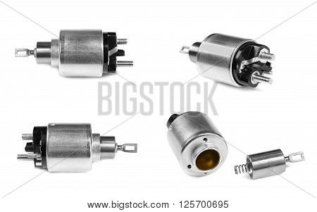 Spare parts for the starter to the car on a white background. Collage image is composed of several photographs.