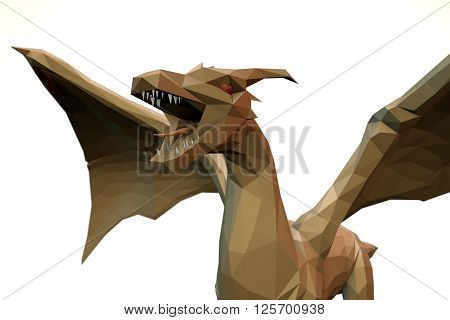 3d computer rendering illustration on low Polygone Object Dragon front left view