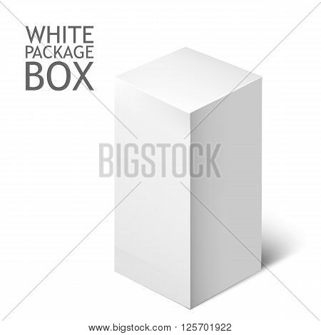 Cardboard Package Box. White Package Square For Software, DVD, Electronic Device And Other Products. Mock Up Template Ready For Your Design.  Illustration Isolated On White Background.