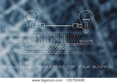 Lightbulbs Connected With Plug & Progress Bar, Business Knowledge