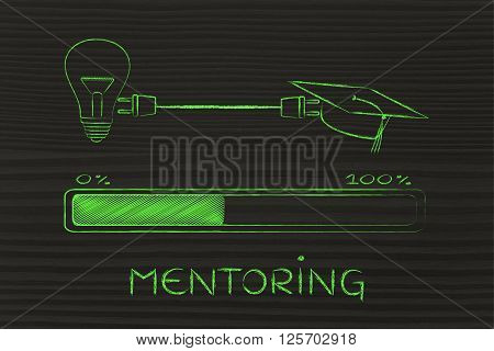 Graduation Caps & Lightbulb Connected By Plug, Mentoring