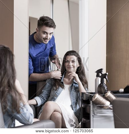 Male Hairstylist And Female Customer
