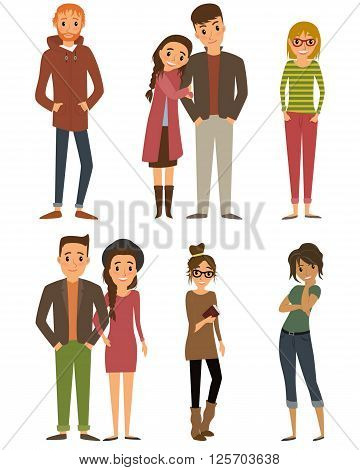 People characters. Character set with flat design style. Couple and lovers, young men and young women characters.