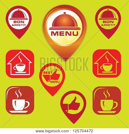 Flat and 3D restaurant icons and pointers.