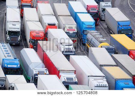 Trucks on a parking in Stockholm, Sweden