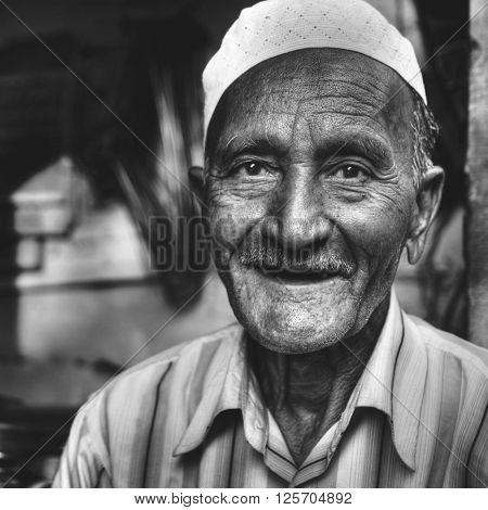 Happy Indian Man Smiling Asian Character Facial Concept