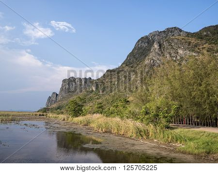 Beauty landscape with mountain under blue sky and cloud at Thailand (Sam Roi Yot Freshwater Marsh)