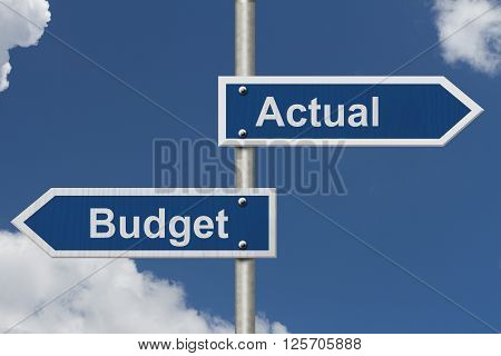 Actual versus what was budgeted Two Blue Road Sign with text Actual and Budget with sky background