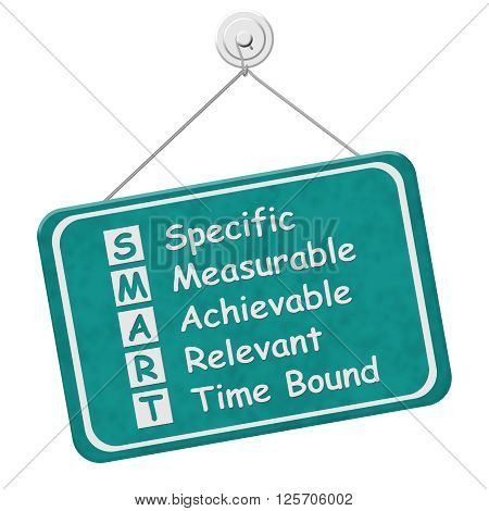 Writing your SMART Goals A teal hanging sign with text listing SMART Goals isolated over white