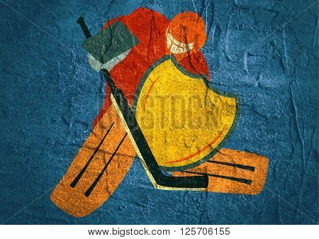Illustration of ice hockey goalie with knight shield. Sport metaphor. Concrete textured