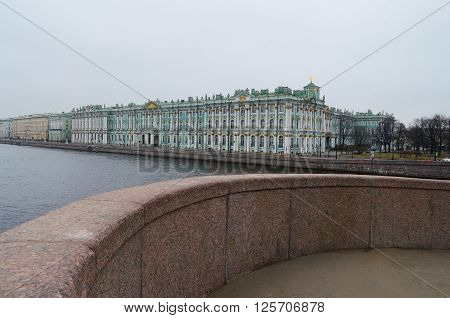 The bridge offers views of the Winter Palace.The Hermitage is one of the largest museums in the world.