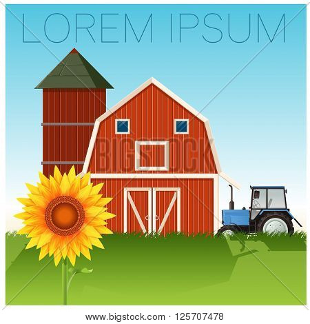 Vector image of the Farm banner with sunflower