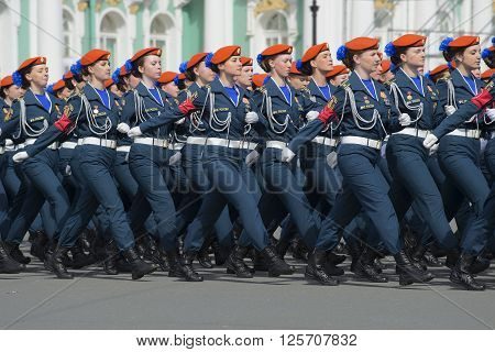 ST. PETERSBURG, RUSSIA - MAY 05, 2015: Girl cadets of Academy of the Ministry of emergency situations in the ranks on parade rehearsal in honor of Victory Day