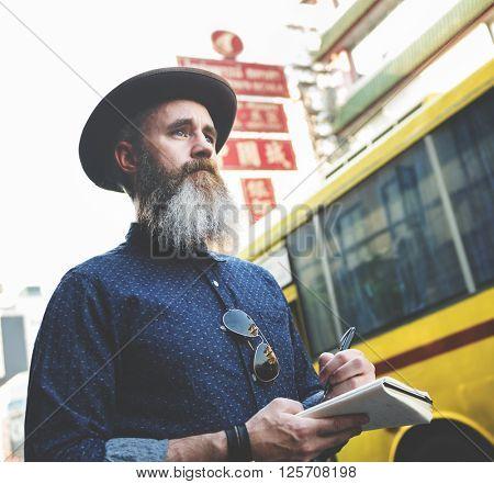 Man Journal Exploring Tourism Concept