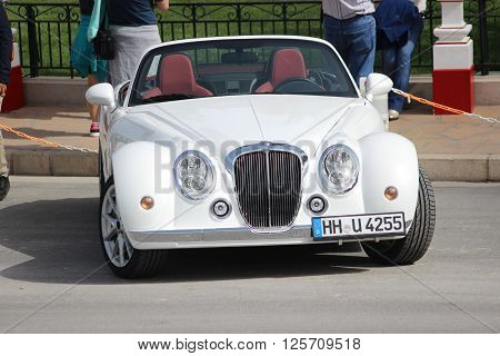 Monte-Carlo Monaco - April 6 2016: White Mitsuoka Roadster Parked in Front of the Monte-Carlo Casino in Monaco