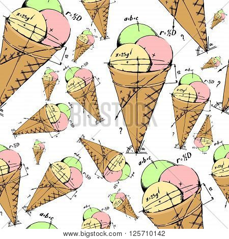 Mixed ice cream scoops. Hand drawn vector stock illustration