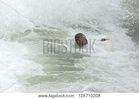 Man Body Boarder surfing on the waves Sea beach ** Note: Soft Focus at 100%, best at smaller sizes
