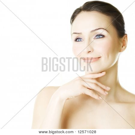 Beautiful Young Woman portrait isolated on white