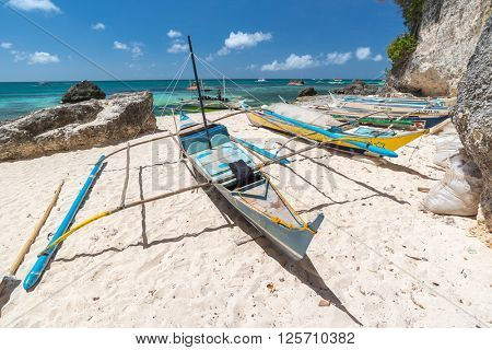 Tropical landscape with traditional Philippines fisherman boats , Philippines
