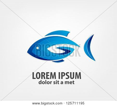 Logo fish 3d. creative logo design template, vector logo template. Company logo design