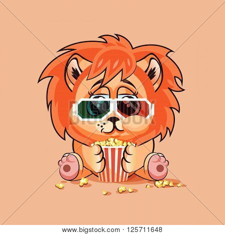 Vector Illustration Emoji character cartoon Lion cub chewing popcorn, watching movie in 3D glasses sticker emoticon for site, infographic, video, animation, website, e-mail, newsletter, report, comic
