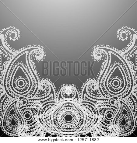 Delicate card or invitation with paisley on Indian grounds. Vector illustration.