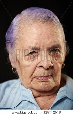 Portrait Of Wrinkled Grandma