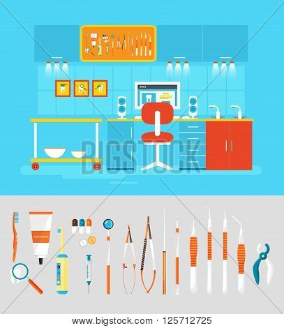 Stock vector illustration set of dental office with dental chair, office of dentist, dental equipment in flat style element for infographic, website, icon, games, motion design, video