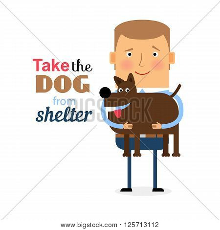 The young man offers to take the dog from a shelter