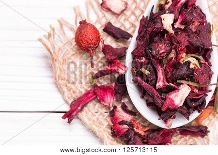 Mixture Herbal Floral Fruit Tea With Petals, Dry Berries And Fruits.