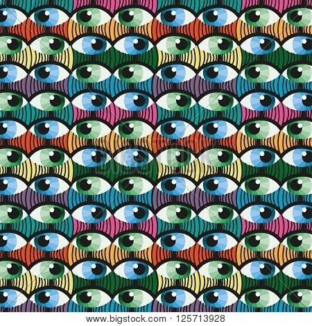Seamless colorful eye witness cartoon illustration background pattern in