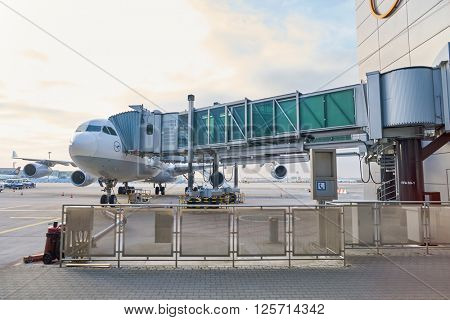 FRANKFURT, GERMANY - CIRCA MARCH 2016: Lufthansa Airbus A340-300 docked in Frankfurt Airport. Frankfurt Airport is a major international airport located in Frankfurt