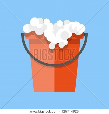 Red cleaning bucket with soap bubbles, cleaning house concept. Bucket for household. vector illustration in flat design on blue background