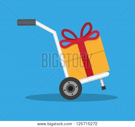 Metallic hand truck with orange gift box with red bow and ribon. delivery. hand truck icon. vector illustration in flat design on blue background